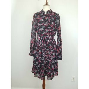 Kirna Zabete  Long Sleeve Geo Button Down Dress L